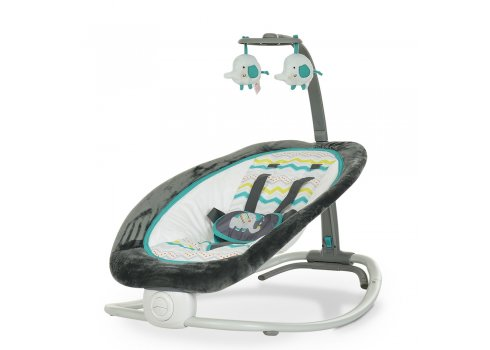 Детский шезлонг-качалка Mastela с регулируемой спинкой 6915 серо-синий