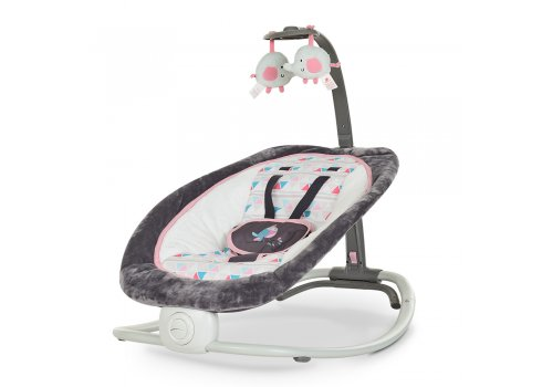 Детский шезлонг-качалка Mastela с регулируемой спинкой 6917 серо-розовый