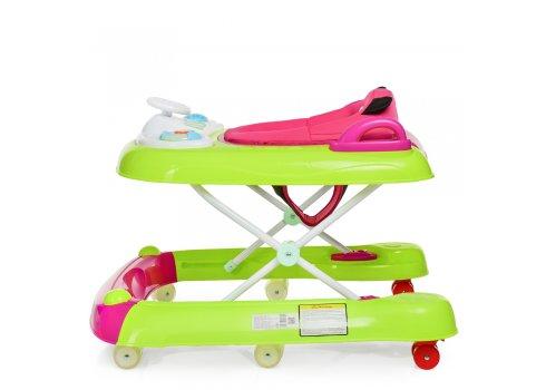 """Ходунки детские 2в1 """"Первые шаги"""" EL CAMINO BEAR ME 1055 Bright Pink салатово-розовый"""