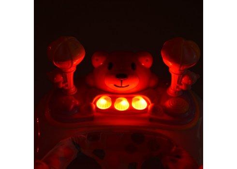 Детские музыкальные ходунки с ручкой 3в1 Мишка Bambi M 3656A-S-2 бежевый