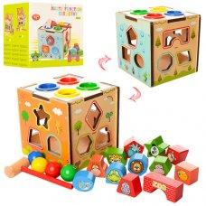 Деревянная развивающая игрушка 4в1 Куб MD 1082
