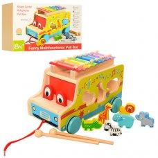 Деревянная развивающая игрушка 4в1 Машинка MD 1084