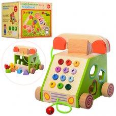 Деревянная игрушка 3в1 Телефон/Сортер/Каталка MD 1109