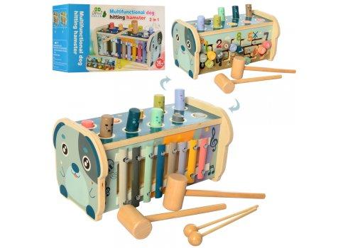 Деревянная развивающая игрушка 3в1 (лабиринт, стучалка, ксилофон) MD 2415