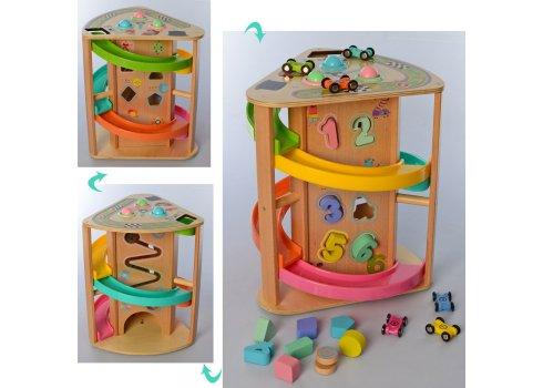 Деревянная развивающая игрушка 3в1, трек с машинками MD 2693