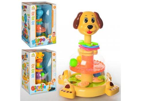Развивающая игрушка для детей Юла-животное SL83058-59-60 собачка, жираф или гиппопотам