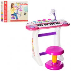 Детский синтезатор-пианино с микрофоном и стульчиком, BB33 голубой и розовый