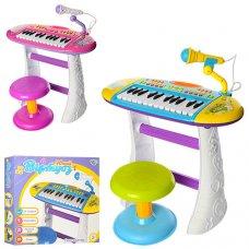 Детский синтезатор-пианино с микрофоном и стульчиком, Limo Toy BB383BD