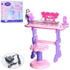 Детский синтезатор на ножках со стульчиком и микрофоном 6618