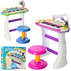 Детский синтезатор-пианино с микрофоном и стульчиком Юный виртуоз, Limo Toy 7235