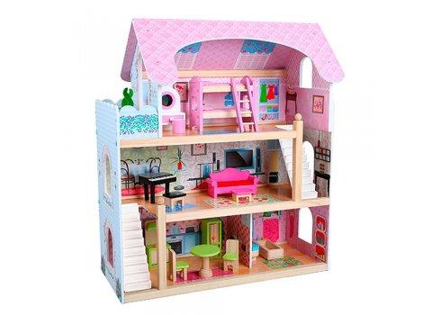 Деревянный домик для куклы 3-этажный с мебелью MD 1038