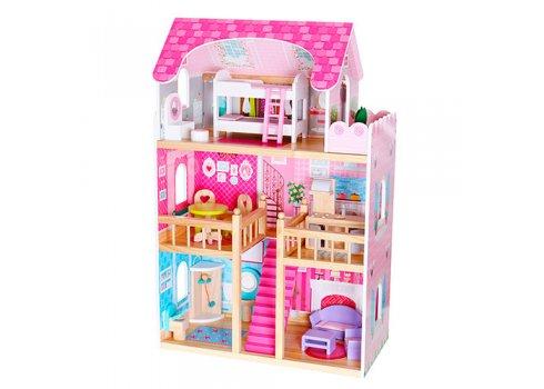 Деревянный домик для куклы 3-этажный с мебелью MD 1039