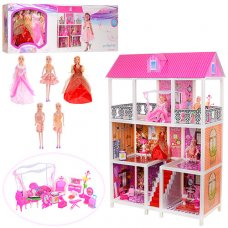 Домик для куклы 3-этажный с мебелью 66885