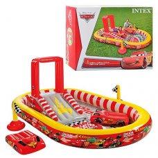 Детски надувной игровой центр Disney Cars с горкой и душем, Intex 57134