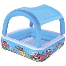 Детский надувной бассейн Квадрат с навесом 147х147х122см, Bestway 52192