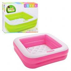 Детский надувной бассейн 85х85х23см, Intex 57100 розовый и салатовый