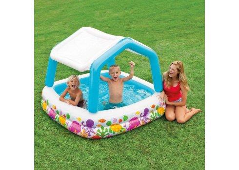 Надувной бассейн с крышей квадратный 157х157 Intex 57470