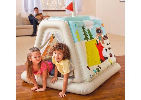 Детски надувной игровой центр-домик Звериный лагерь, Intex 48634