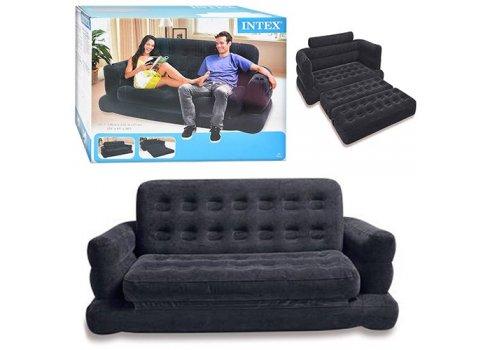 Велюровый надувной диван-кровать с подстаканником, Intex 68566