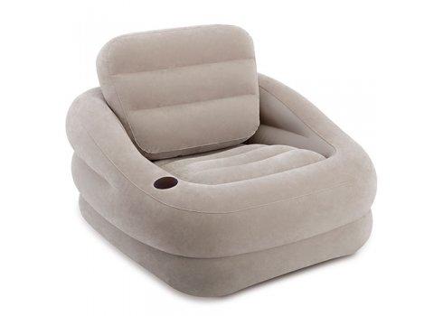 Велюровое надувное кресло с подстаканником, Intex 68587