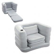 Велюровое надувное кресло-диван с подстаканником, Intex 75065