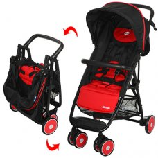 Детская коляска на алюминиевой раме, El Camino  Motion M 3295-3 красно-черная