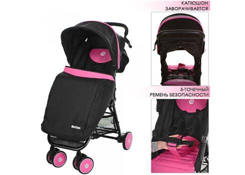 Детская коляска на алюминиевой раме, El Camino  Motion M 3295-8 розово-черная