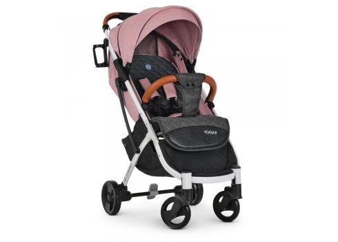 Детская прогулочная коляска Yoga II на белой раме M 3910 Pale Pink-W