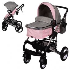 Детская универсальная коляска-трансформер El Camino Grande, ME 1006-8-11 серо-розовая
