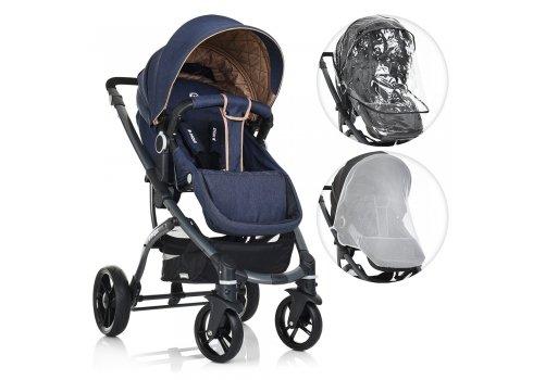 Детская универсальная коляска 2в1 на алюминиевой раме, El Camino B-Move ME 1021-4 синий с бежевым