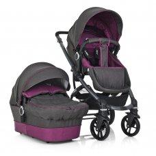 Детская универсальная коляска 2в1 на алюминиевой раме, El Camino B-Move ME 1021-9 серый с фиолетовым