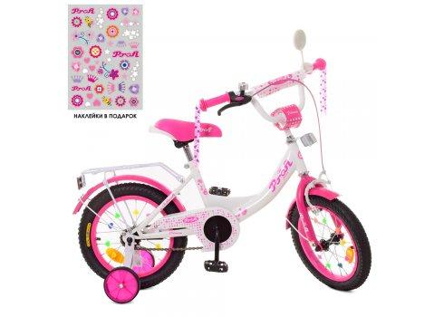 Детский двухколесный велосипед 12 дюймов Profi Princess XD1214 бело-малиновый