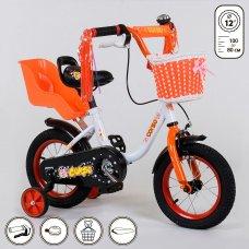 Детский двухколесный велосипед Corso 12 дюймов 1285 бело-оранжевый