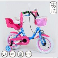 Детский двухколесный велосипед Corso 12 дюймов 1291 малиново-голубой