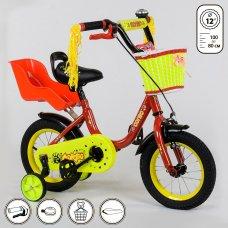 Детский двухколесный велосипед Corso 12 дюймов 1294 красно-желтый