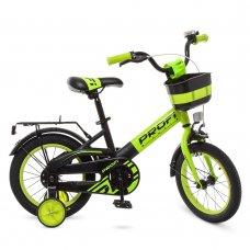 Детский двухколесный велосипед Profi Original W14115-6 черно-зеленый матовый