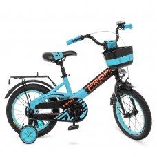Детский двухколесный велосипед Profi Original W14115-8 черно-бирюзовый матовый