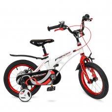 Детский двухколесный велосипед Profi Infinity 14 дюймов на магниевой раме, LMG14202 бело-красный