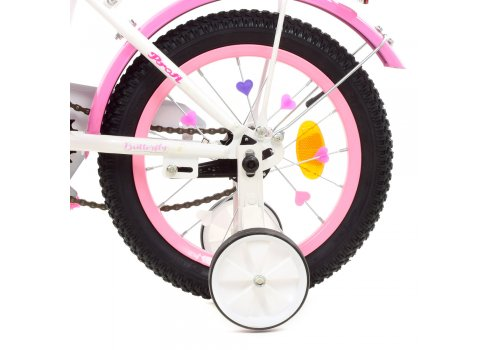 Детский двухколесный велосипед 14 дюймов Profi Butterfly Y1425 бело-розовый