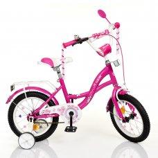Детский двухколесный велосипед 14 дюймов Profi Butterfly Y1426 фуксия
