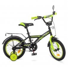 Детский двухколесный велосипед Profi Racer 14 дюймов, T1437 черно-салатовый