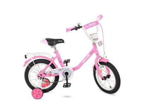 Детский двухколесный велосипед Profi Flower 14 дюймов Y1481 розовый