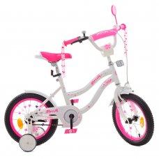 Детский двухколесный велосипед 14 дюймов Profi Star Y1494 бело-розовый