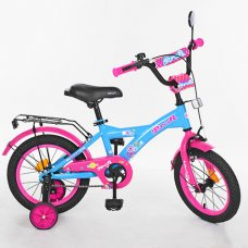 Детский двухколесный велосипед Original girl Profi 14 дюймов, T1464 голубо-розовый