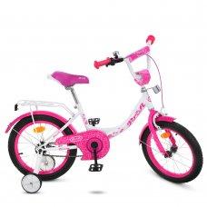 Детский двухколесный велосипед Profi Princess 16 дюймов Y1614 бело-малиновый