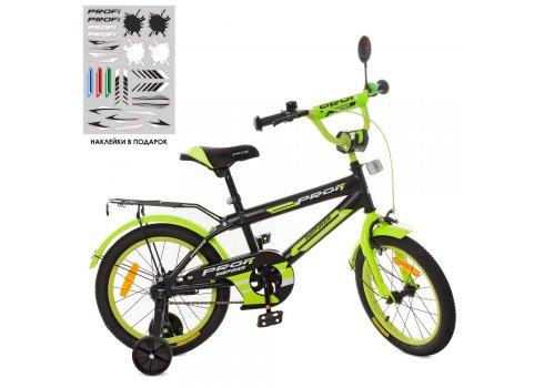 Детский двухколесный велосипед Profi Inspirer 16 дюймов SY1651 черно-салатовый (матовый)