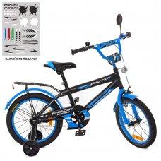 Детский двухколесный велосипед Profi Inspirer 16 дюймов SY1653 черно-синий (матовый)
