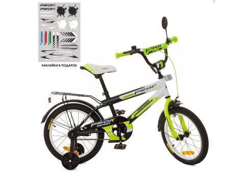 Детский двухколесный велосипед Profi Inspirer 16 дюймов SY1654 черно-бело-салатовый (матовый)