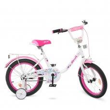 Детский двухколесный велосипед Profi Flower 16 дюймов Y1685 бело-розовый