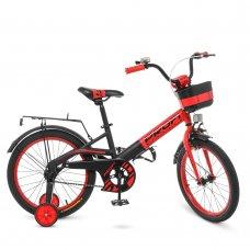 Детский двухколесный велосипед Profi Original 18 дюймов, W18115-5 черно-красный матовый